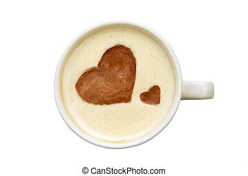latte, arte, -, aislado, taza, de, café,