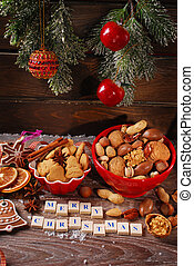 christmas cookies and nuts assortment - christmas cookies...