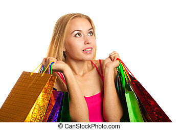 portrait young adult girl with colored bags