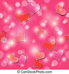 Valentine's day seamless pattern with hearts and lights - holida
