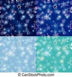 Seamless pattern with Blurred Christmas Lights and...