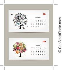 Calendar 2015, september and october months. Art tree design