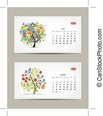 Calendar 2015, july and august months. Art tree design
