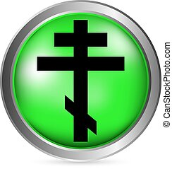 Religious orthodox cross button on white background Vector...