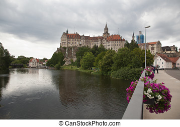 Sigmaringen Castle and Donau - View of Sigmaringen with...