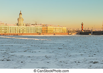 Vasilievsky island and Kunstkammer winter morning in St...