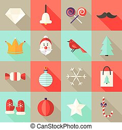 Christmas Square Flat Icons Set 1 Red and Mint