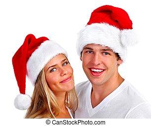 navidad,  santa, pareja