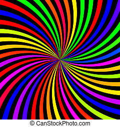 Abstract neon rainbow swirl