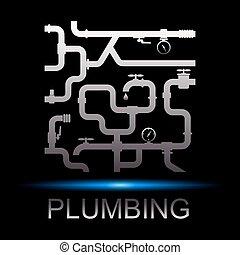 Symbole, réparation, plomberie,