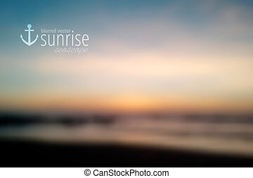 sunrise - South China Sea, seascape with sunrise, vector...