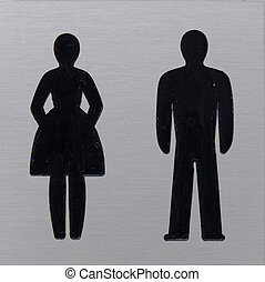 Toilet sign, women and man - Toilet sign with silhouette of...