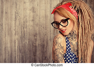 elegant spectacles - Close-up portrait of a modern pin-up...