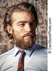 fashion on beards - Close-up portrait of a respectable...