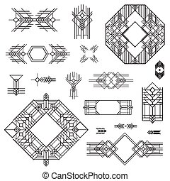 Art Deco Vintage Frames and Design Elements - hand drawn in...