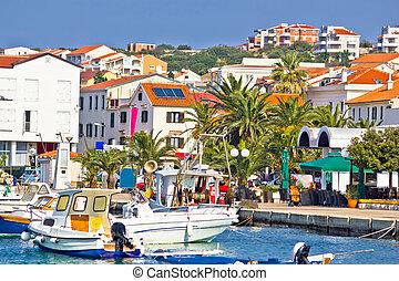 Mediterranean town of Novalja waterfront view, Island of...