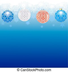 Christmas border - Border of snowflakes and balls on a blue...