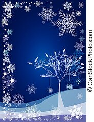 Winter background with snow tree and different snowflakes...