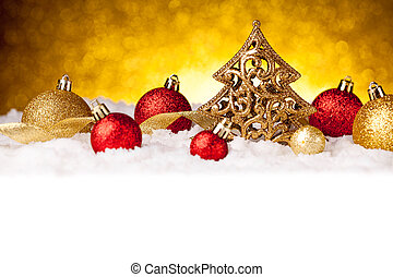 Golden christmas fir tree decoration with gold and red...