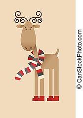 Christmas deer - Merry Christmas deer - greeting card