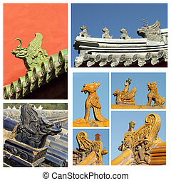 collage made of images with ancient roof decorations, Beijing, C
