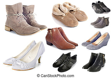group of shoes in front of white background