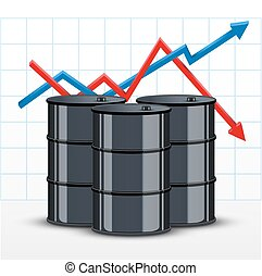 Oil barrels on the price chart background