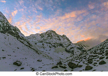 Starry sky over Machhepuchare and Annapurna Base Camp -...