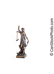 Themis statue on a white background
