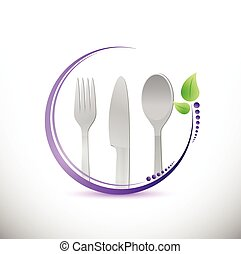 food utensils restaurant sign illustration design over a...