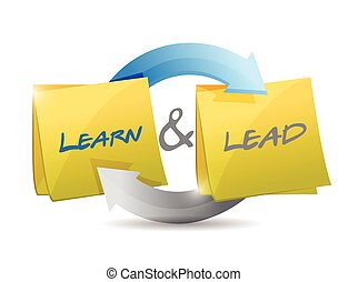 learn and lead cycle illustration design over a white...
