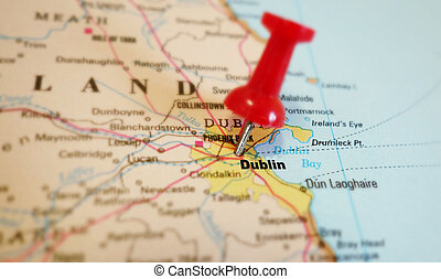 Dublin map - closeup of a red tack in Dublin Ireland map...