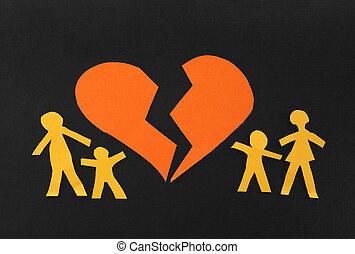 Broken family - Paper family split apart with broken heart...