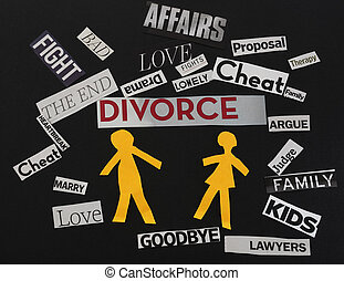Divorce messages - Paper couple with divorce themed paper...