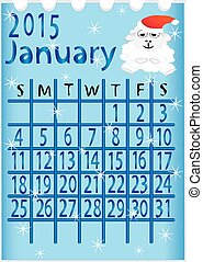leaf calendar for 2015 January vector, illustration
