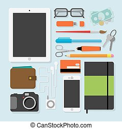 Flat design stylevector illustration of every day things