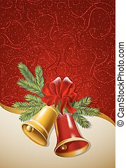 Red background with Christmas bells.