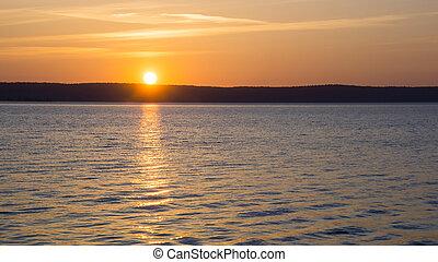 Summer lake sunrise - Summer sunrise on lake harbour