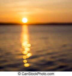 Sunrise on lake and bokeh - Summer sunrise on lake and bokeh