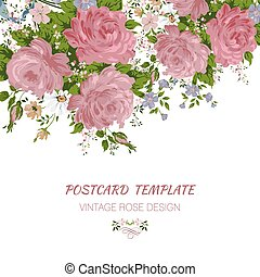 Wedding card or invitation with abstract floral background....
