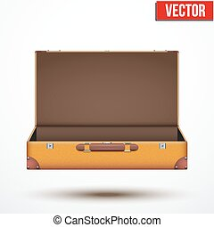 Open Vintage leather travel Suitcase