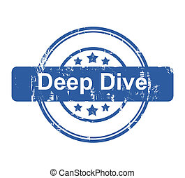 Deep Dive business concept stamp with stars isolated on a...