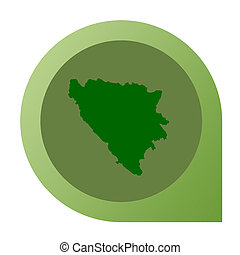 Isolated Bosnia and Herzegovina map marker pin in flat web...