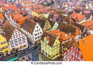 aerial of Rothenburg ob der Tauber - ROTHENBURG, GERMANY -...