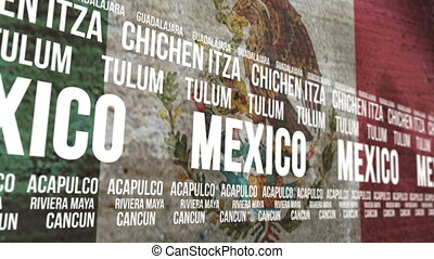 Mexico Flag Tourism Attractions - Scrolling banner with the...