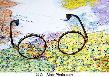 ÓCULOS, ligado, Um, mapa, de, Europa, Bélgica,...