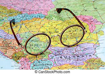 ÓCULOS, ligado, Um, mapa, de, Europa, -,...
