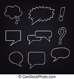 Speech bubbles on blackboard