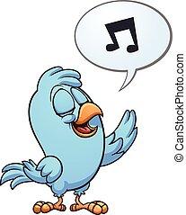 Singing bird - Blue singing bird. Vector clip art...