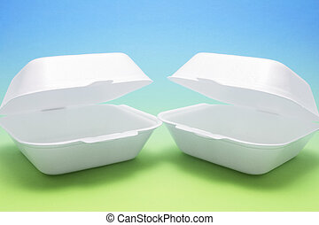 Polystyrene Food Boxes on Blue and Green Background